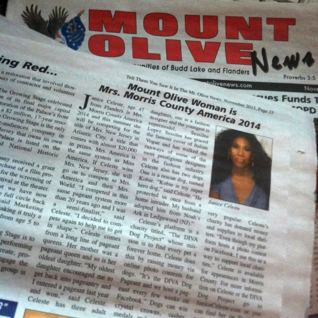 Mrs. Morris County featured in the Mount Olive News.